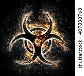burning biohazard sign | Shutterstock . vector #407838763