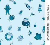 christmas seamless pattern... | Shutterstock .eps vector #407867617