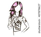 fashion woman contour face...   Shutterstock .eps vector #407878627