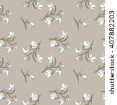 snowdrops seamless pattern | Shutterstock .eps vector #407882203