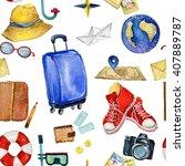 travel pattern. watercolor... | Shutterstock . vector #407889787