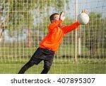 boy goalkeeper defends the goal