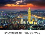 south korea skyline of seoul ... | Shutterstock . vector #407897917
