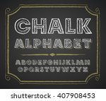 hand drawn alphabet on... | Shutterstock .eps vector #407908453