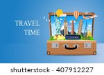 trip to world. travel to world. ... | Shutterstock .eps vector #407912227