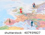 pinned on map of london in uk... | Shutterstock . vector #407939827