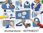 cloud computing network online... | Shutterstock . vector #407948257