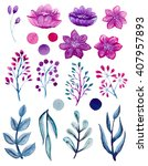 set of watercolor bright pink... | Shutterstock . vector #407957893