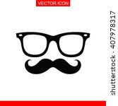 mustache and glasses icon.  | Shutterstock .eps vector #407978317