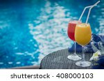 two cocktails red and yellow on ... | Shutterstock . vector #408000103