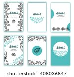 set of cards with sea shells... | Shutterstock .eps vector #408036847