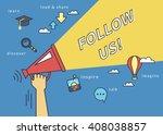 follow us banner for social... | Shutterstock .eps vector #408038857