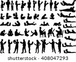 silhouettes of people with a... | Shutterstock .eps vector #408047293