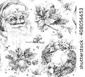 santa clause seamless pattern.... | Shutterstock . vector #408056653