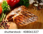 grilled chicken breast and... | Shutterstock . vector #408061327