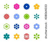 set of flat icon flower icons... | Shutterstock .eps vector #408064033
