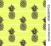 seamless summer black pineapple ... | Shutterstock .eps vector #408089923