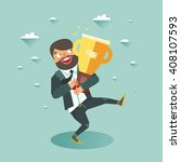 businessman holding trophy... | Shutterstock .eps vector #408107593