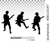 set of guitar player...   Shutterstock .eps vector #408113197