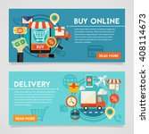 online shopping and delivery... | Shutterstock .eps vector #408114673