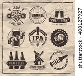 vector craft beer badges and... | Shutterstock .eps vector #408127927