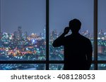 silhouette of man use mobile... | Shutterstock . vector #408128053