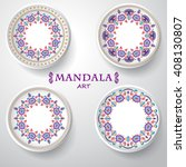 set of four plates with... | Shutterstock .eps vector #408130807