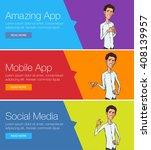 vector web banners for training ... | Shutterstock .eps vector #408139957
