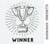 sport trophy sketch doodle.... | Shutterstock .eps vector #408146773