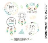 set of boho style frames  logos ... | Shutterstock .eps vector #408152317