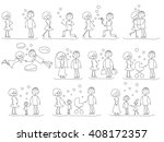 love story set of young men and ... | Shutterstock .eps vector #408172357