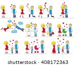 love story set of young men and ... | Shutterstock .eps vector #408172363