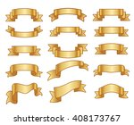 gold ribbon banners. gold... | Shutterstock .eps vector #408173767
