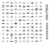 Vintage Logos Design Templates Set. Vector logotypes elements collection, Icons Symbols, Retro Labels, Badges, Silhouettes. Big Collection 120 Items. | Shutterstock vector #408179833