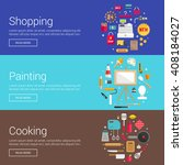 shopping. painting. cooking.... | Shutterstock .eps vector #408184027
