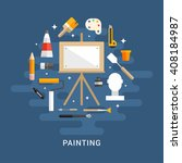 painting concept. wooden easel... | Shutterstock .eps vector #408184987