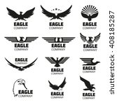 Stock vector heraldic symbols with eagle silhouettes vector eagle emblems or eagle logos set for company logo 408185287