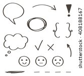 set of hand drawn  doodle... | Shutterstock .eps vector #408188167
