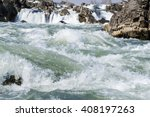 Fast River Water With Rocks ...