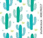 Seamless Cactus Pattern Vector...
