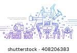 flat style  thin line art... | Shutterstock .eps vector #408206383
