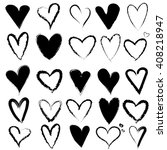 ink hand drawn hearts.... | Shutterstock .eps vector #408218947