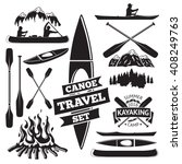 Set Of Canoe And Kayak Design...
