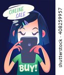 girl is searching online sale.... | Shutterstock .eps vector #408259957