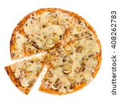 pizza with cheese and ham... | Shutterstock . vector #408262783