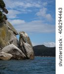 Small photo of Rock formations along the coast of New Zealand's Abel Tasman