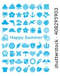 greeting card with summer icons. | Shutterstock .eps vector #408295903