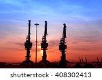 port gantry crane is working    Shutterstock . vector #408302413