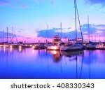 Yacht Harbor On Sunset Time ...