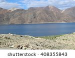 Small photo of LEH,LADAKH,INDIA-22JULY 2014-Pangong Tso lake,Leh. Approximately 60% of the length of the lake lies in China. The lake is 5 km wide at its broadest point. Altogether it covers 604km2.